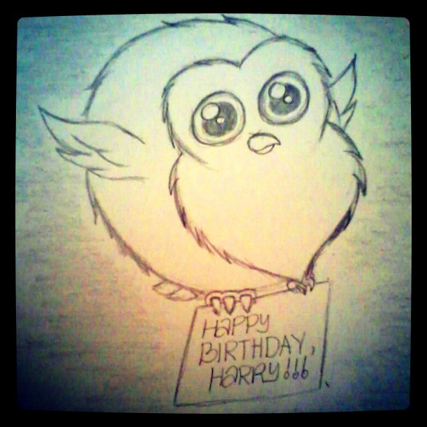 The Hedwig I drew looks more like a Furby, said my brother, but what the heck.